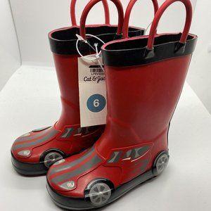 Cat & Jack Toddler size 6 race car rainboots